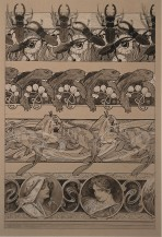 4 decorative friezes with beatles and flowers, turtles and flowers, fish and waves and female heads