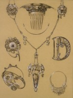 jewellery designs including a comb, a necklace, a broach, a buckle and an earing