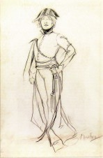 A full-length sketch of Bernhardt wearing military costume and holding her left hand on her hip in a defiant pose