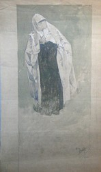 Figure wearing a dark tunic with face obscured by a white scalf leaning to her right on a pale blue background