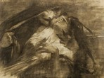 A woman leans back into the arms of a caped man who holds his left hand over her eyes