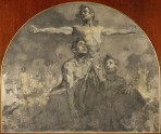 A wooden pendentive with a drawing in pencil portraying three male bare-chested figures, one with his arms spread, with figures in the background