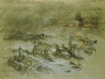 A rough sketch with non-distinct bundles on the foreground under a dark sky and a fire blazing in the distance