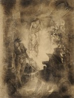 A devil figure peers around a column with an aged figure behind