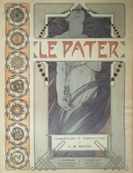 Frontispiece with decorative vertical border on the left and image of a woman with long flowing hair falling around her holding a female figurine in her right hand; title at the top of the page and detail on author (Mucha) and printers at the bottom of the page