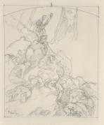 Rough pencil sketch of a group of figures reaching towards the top of the composition