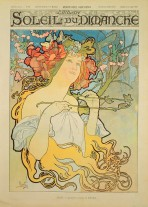 A woman with a round face and red flowers and butterflies in her golden hair which falls around her body; she holds a branch with insects to her neck and looks upwards; the title of the magazine sits at the top of the page