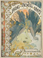 Magazine cover with '1896 Noël 1897' at the top of the composition and 'L'illustration' at the bottom and two female figures in the middle