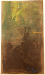 Rough sketch with dark outline at bottom of figures reaching towards the top of the composition dominated by green and a yellow source of light