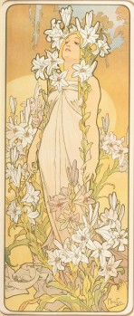 A full-length female figure with long blond hair and a shoulderless white dress looks upwards; she wears lilies in her hair and is surrouded by pink and white lilies