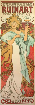 A full-length figure of a woman with stylised blond hair forming arabesques around her body wears a white dress with a pale blue shawl and holds a glass of champagne at face-level with her left hand; she stands against a red background; the text 'Champagne Ruinart Père et fils' features at the top of the poster; 'Rheims' features at the bottom of the poster