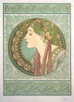 The head and shoulders of a woman seen in profile with laurel leaves in her fair hair held in place with a dark red braid and a decorative collar framed by a circle with a mosaic motif and and a laurel leaf border