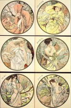 6 circular pictures with female figures set against seasonal landscapes that represent each of the months between January and June