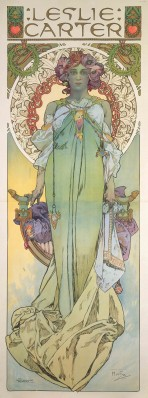 A full-length female figure in a pale green dress with mauve flowers in her hair stands in front of an ornate chair and is framed by a decorative halo with a lily motif; the words 'Leslie Carter' sit at the top of the composition