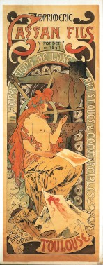 Nude female figure with long red hair sits holding a print with a pile of prints at her feet with a male figure behind working a printing press and the text 'Cassan Fils/fondée en 1851/Impressions de luxe artistiques et commerciales/Armier du Charteru/Toulouse'