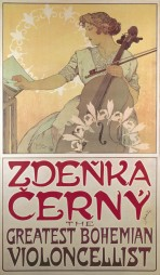 A woman in a white dress with lace trimmings holding a cello and bow in her left hand turns the page of a music book with her right hand; before her and in the background are two circular white lily motifs; the text 'Zdenka Cerny, The Greatest Bohemian Violincellist' figures in red font at the bottom of the poster