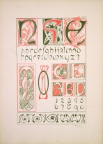 letters illuminated with female figures and floral elements and examples of decorative type fonts