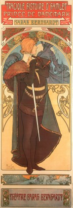 A woman with short red hair wearing a brown tunic and a heavy fur trimmed cape stands in profile holding a sword; she stands against a decorative alcove framing a scene from the play beyond; details of the play are at the top and bottom of the composition
