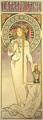 Woman in a white, high-neck dress holding flowers in her right hand and resting her left hand on a bottle which sits on a table; behind her head is a decorative halo