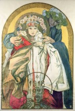 A man stands behind a girl in folk costume and holds a garland of flowers above her head; the dates'1918-1928' sit at the bottom of the poster