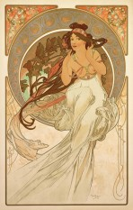 A woman with long dark hair, bare breasts and a flowing white gown touches the back of her neck with her hands as she perches on a large decorative halo