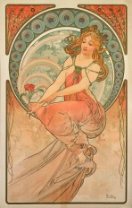A woman with long red hair and a sensuous amber dress holds a red flower in her right and reaches for the flower with her left hand as she perches on a large decorative halo