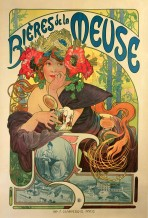 A woman with large poppies and clusters of corn in her hair and a strapless brown dress leans on a ledge holding a pitcher of beer. A hop motif sits above and below the words 'Bières de la Meuse' at the top of the poster. A black and white drawing of the brewery and a seated female figure feature at the bottom of the poster.