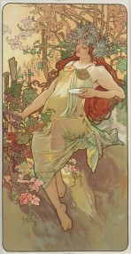 A woman with long red hair and a wreath of chrysanthemums holds grapes in her right hand and a saucer in her left hand