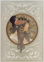 A brunette in profile looking to the right with ornate tiara and pendants framed by a gold circular motif