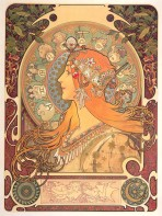 12 zodiac signs feature in a halo behind a woman with long golden hair and ornate jewellery seen in profile