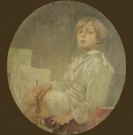 Young boy in a white shirt and shorts sitting cross-legged with a paintbrush in his right hand in front of a blank canvas