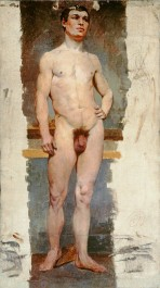 A male nude standing in contrapposto with his right hand on his hip