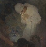 In a dark scene a woman in a white dress and headdress leans over to protect a candle in her hands; an old man in the foreground clasps the hand of a third figure with his right hand