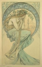 A bare shouldered woman with long fair hair and a pale blue piece of fabric wrapped around her lower body perches on and gazes through a large decorative halo
