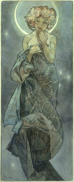 A bare-shouldered woman with a flower wreath and a moon halo holds her hand to her mouth and a piece of blue fabric with garlands of stars to her chest