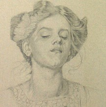 Pencil drawing of a woman with her hair up wearing a smock