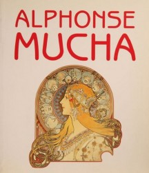 Poster based on Mucha's Zodiac with white background and 'Alphonse Mucha' in red Art Nouveau font