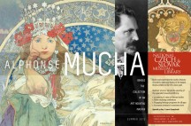 Exhibition poster including Mucha's 'Princess Hyacinth', a photographic self-portrait, and a female in profile wearing ornate jewellery, with text details of the exhibition