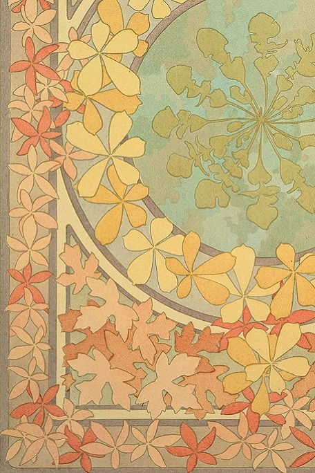 Decorative colour motif with autumnal leaves