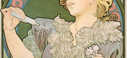 A crop of poster for Rodo perfume with a woman squirting perfume from a phial