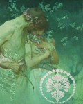 A young man with a bare chest and flowers in his hair draws a young woman holding flowers towards him; the composition is dominated by greens and blues; a decorative motif of flowers and stars sits in the bottom right corner−©Mucha Trust