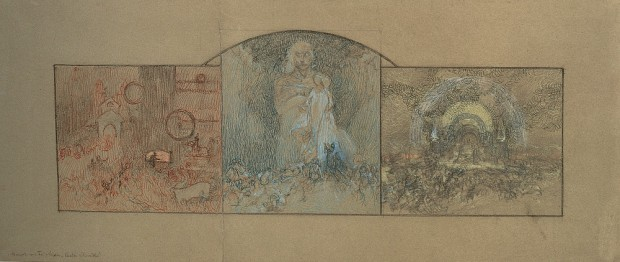 Study composed of three horizontal panels with arched panel in the centre
