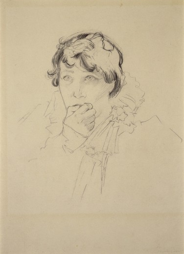 Head and shoulders of Sarah Bernhardt with short cropped hair and a ruffled collar holding her right hand to her mouth