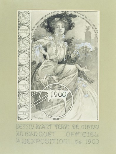 Decorate vertical border on the left; main image: fashionable woman with a view of Paris skyline behind