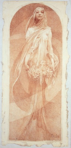 Long vertical design with woman draped in flowing garments holding a flower wreath standing in an alcove