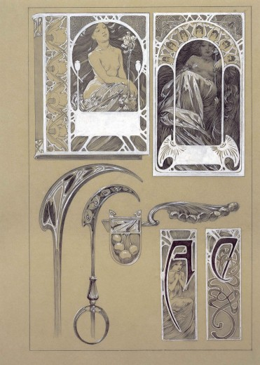 Top half: a book cover design and a rectangular design, both with nudes and ornamental forms; bottom half: 6 decorative elements