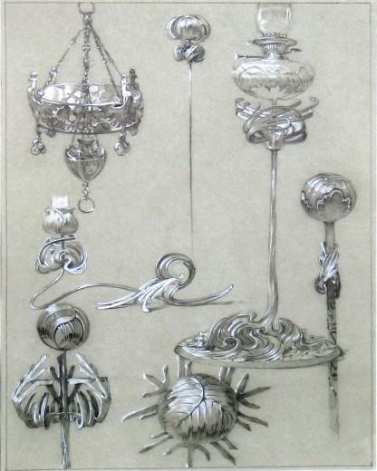 7 ornamental light fittings with elaborate plant motifs