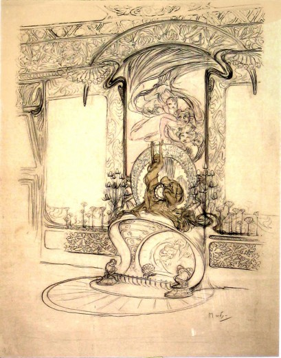 Detailed sketch with fireplace at the centre, mirrors either side, and an ornate frieze and cornice at the top