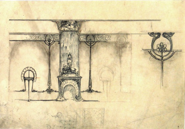 Smudged sketch of an interior with a fireplace in the centre and an ornate frieze linking elements