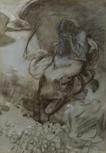 A girl seated with her head slumped in her hands